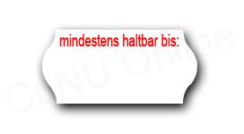 MHD-Etiketten, 26x12mm, weiß-rot